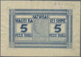 Latvia /Lettland: Unique PROOF Print Of 5 Rubli 1919 P. 3a-b(p), Without Date, Signature Erhards, Front Proof, Uniface P - Latvia