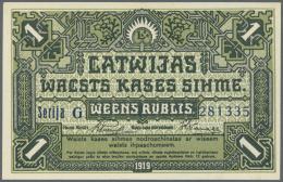 "Latvia /Lettland: 1 Rubli 1919 P. 2b, Series ""G"", In Very Crisp Original Condition: UNC. - Latvia"