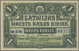 "Latvia /Lettland: 1 Rublis 1919 P. 2a, Series ""D"", In Crisp Original Condition: UNC. - Latvia"