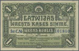 """Latvia /Lettland: 1 Rublis 1919 P. 2a, Series """"C"""", In Crisp Original Condition: UNC. - Latvia"""