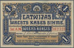 "Latvia /Lettland: 1 Rublis 1919 P. 1, Series ""A"", In Crisp Original Condition: UNC. - Latvia"