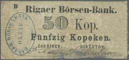 "Latvia /Lettland: Unique Note Of 50 Kopeks 1863 Series ""B"", P. A5, Rigaer Bursen-Bank, Stronger Used With Several Folds - Latvia"