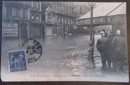 Carte Postale Animée Paris Crue De La Seine 1910 + Type Sage 10c N°89 - Catastrophes