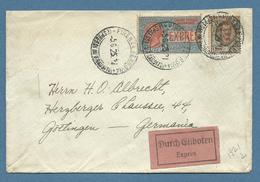 ESPRESSO LIRE 2 + FLOREALE L. 1 SU BUSTA PER LA GERMANIA IN DATA 3/6/1925 -  RRR - 1900-44 Vittorio Emanuele III
