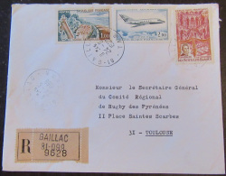 Enveloppe UAG Rugby Recommandé Gaillac N°9628 + Timbres Dont PA42 + Cachet 1959 - France