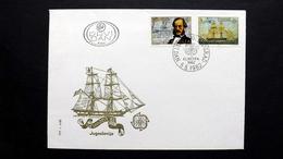 Jugoslawien 1919/20 FDC, ESST Beograd, EUROPA/CEPT 1982, Kapitän Ivo Visin (1806-1868); Seekarte, Segelschiff Splendido - FDC