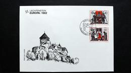 Liechtenstein 791/2 FDC, ESST Vaduz, EUROPA/CEPT 1982, Erhebung Der Bauern, 1525; Reichsunmittelbarkeit, 1396
