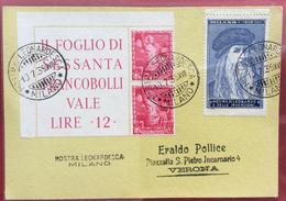 LEONARDO DA VINCI MOSTRA LEONARDESCA MILANO  10/7/1939 ANNULLI SPECIALI GULLER E LINEARE + ERINNOFILO - 1900-44 Vittorio Emanuele III