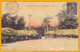 1906 - CP De Parakou, Dahomey  Aujourd'hui Bénin Vers Paris, France - Affr T à 1 Centime  - Vue D'un Marché - Dahome (1899-1944)