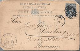 CEYLON CEILAN  A HAMBURG GERMANY ENTIER ENTERO POSTAL STATIONERY YEAR 1893 VOIR SCANS RARE - Ceylon (...-1947)