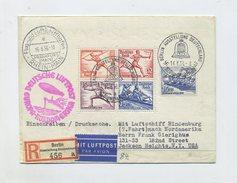 1936 3. Reich Olympia Zuleitungsbeleg Zeppelin LZ 129 R- Brief  6. NAF Blockfrankatur Bl. 6 Sieger 430C - Germany