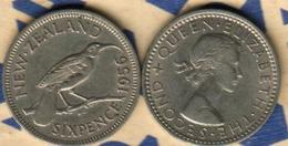 NEW ZEALAND 6 PENCE BIRD FRONT QEII HEAD BACK 1956 VF KM? READ DESCRIPTION CAREFULLY !!! - New Zealand
