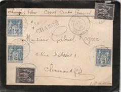 Puy De Dôme - Juin 1899 - Riom - Type Sage - 5 Timbres - Chargé - Vers Clermond-Ferrand - Marcophilie (Lettres)