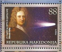 MK 2017-06 ASTRONOMY EDMOUND HALLEY, MACEDONIA MAKEDONIJA, 1 X 1v, MNH - Mazedonien
