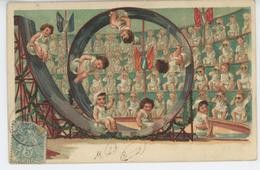 ENFANTS - BEBES - Jolie Carte Fantaisie Portrait Bébés Sur Pot De Chambre Spectacle De Cirque - Bébés