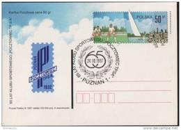 Poland Pologne, Field Hockey, Sailing, Chess, 65 Years Of Sport Club Pocztowiec Poznan, Stationery And Postmark 1997.
