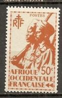 AOF -  Yv.  N°  7  ** MNH  50c  Tirailleur   Cote  0,6  Euro TBE  2 Scans - A.O.F. (1934-1959)