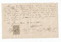 Reçu , LA GRANDE MOTTE , BRIGUEIL , VIENNE , 1883, Timbré , Frais Fr : 1.55 Euros - 1800 – 1899