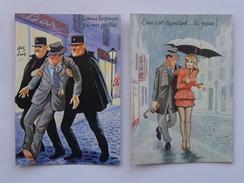 ALCOOLISME IVRESSE: Carte Postale Humoristique Lot 2 Différents Même Thème - Humour Gendarme Pin-Up Parapluie - Humor
