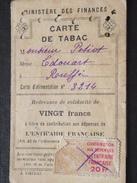 RUFFEC (Charente) - CARTE De TABAC - à M Ed. PETIOT - Ministère Des Finances - A Voir ! - Tabac (objets Liés)