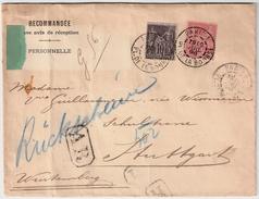 """1898, Lettre Recomm. """" A. R. """"   Pour Allemagne  , #8102 - Marcophilie (Lettres)"""