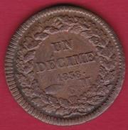Monaco - Honoré V - Un Décime 1838 MC - TTB - 1819-1922 Honoré V, Charles III, Albert I