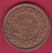 Monaco - Honoré V - Un Décime 1838 MC - TB - 1819-1922 Honoré V, Charles III, Albert I