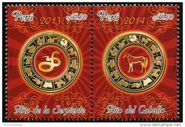 Peru (2014) - Set -  /  Horse - Cheval - Pferde - Snake - Serpent - Chinese New Year