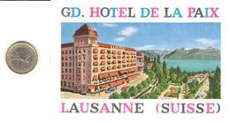 ETIQUETA DE HOTEL  - GRAND HOTEL DE LA PAIX   -LAUSANNE  -SUIZA ( SUISSE ) ( CON CHARNELA ) - Etiquetas De Hotel