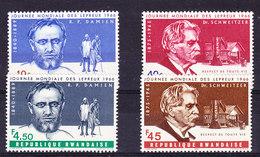 Rwanda 1966 Melaatsen (Pater Damiaan/Dr. Schweitzer) 4w ** Mnh (35657A) - Rwanda