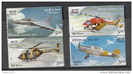 INDIA, 2011, Indipex,Aircraft, Aircrafts, Aeroplane, Helicopter,  My Stamp, Stamps, Set 4 V, S/T Pairs, MNH, (**)