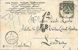 Mantova, 21.10.1906 Su Sassone 70, Segno Di Tassa Inglese 1dFBB, Per Londra, Al Tenore Dante Zucchi. - Marcofilie