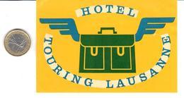 ETIQUETA DE HOTEL  - HOTEL TOURING  -LAUSANNE  -SUIZA ( SUISSE ) ( CON CHARNELA ) - Hotel Labels