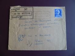 """Lettre De Malmaison Le 3/7/1958 Avec Le N°1011B Flamme """"MALMAISON-ART ET HISTOIRE-NAPOLEONIENS""""  B/TB"""