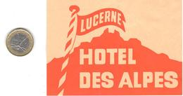 ETIQUETA DE HOTEL  -HOTEL DES ALPES   -LUCERNE  -SUIZA ( SUISSE ) ( CON CHARNELA ) - Etiquettes D'hotels