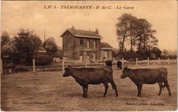 THEROUANNE (62) La Gare - Très Rare - Carte Postée - Coupée Côté Gauche - Autres Communes