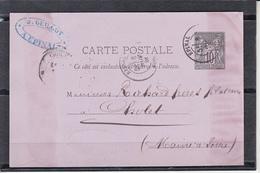 Entier Type  SAGE 10c Noir Sur CPA De EPINAL Vosges Le 6 Nov 1881 Pour CHOLET M.et.L. Avec TIMBRE Fiscal 10c - Postal Stamped Stationery