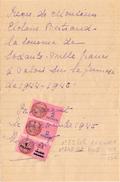 Timbre Fiscal - Wissel Reçu - Clotaire Bertrand - Berlaimont 1945 - Fiscaux