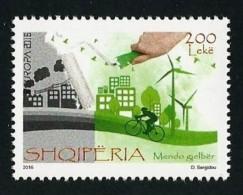 "ALBANIA/ SHQIPERISE/ ALBANIEN - EUROPA 2016 - TEMA  ""ECOLOGIA -EL PENSAMIENTO VERDE -THINK GREEN"".- SERIE De 1 V. Tipo B - Europa-CEPT"
