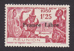 Reunion, Scott #221, Mint Hinged, Paris Int'l Exposition Overprinted, Issued 1943 - Reunion Island (1852-1975)