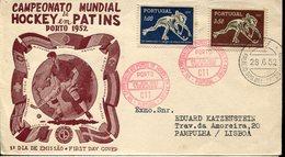21612 Portugal, Fdc 1952 World Roller Rink Hockey Champ. Porto 1952, Postmark Porto