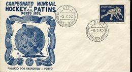21613 Portugal, Fdc 1952 World Roller Rink Hockey Champ. Porto 1952, Postmark Porto (sport Palace)