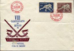 21614 Portugal, Fdc 1952 World Roller Rink Hockey Champ. Porto 1952, Postmark SIR