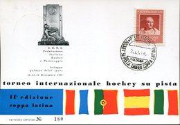 21615 ITALIA, SPECIAL CARD AND POSTMARK BOLOGNA 1957roler Hockey, Rink Hockey