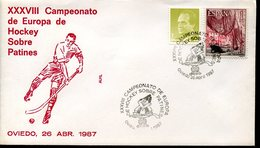 21627 Spain, Special Cover And Postmark1987  Oviedo European Roller Rink Hockey Champ.