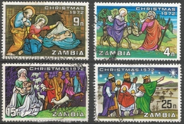 Zambia. 1972 Christmas. Used Complete Set. SG 181-184 - Zambia (1965-...)