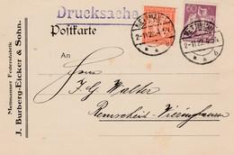 Allemagne Timbres Perforés Perfins Sur Carte De Mettmann 1922 - Cartas
