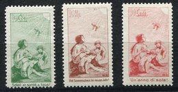SUISSE 1912 PRECURSEURS GROUPE D'ENFANTS. ALLEGORIE 3 VALEURS NEUVES AVEC CHARNIERE