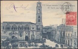 POS-815 CUBA POSTCARD 1913. HABANA, CONVENTO SAN FRANCISCO CON PUBLICIDAD. CUSTOM BUILDING. - Cuba