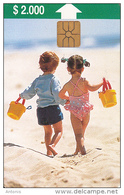 CHILE(chip) - Children On The Beach, Tirage 80000, 06/97, Used - Chile